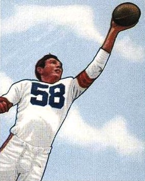 Cleveland Browns end, Mac Speedie, is pictured on a 1950 Bowman football card.
