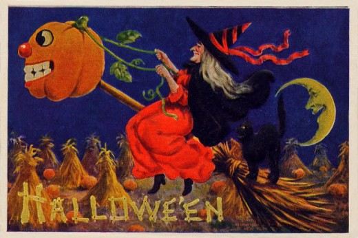 for many years the witch and her black cat have been a staple of Halloween imagery