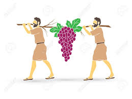 Two Israelites carry one bundle of grapes