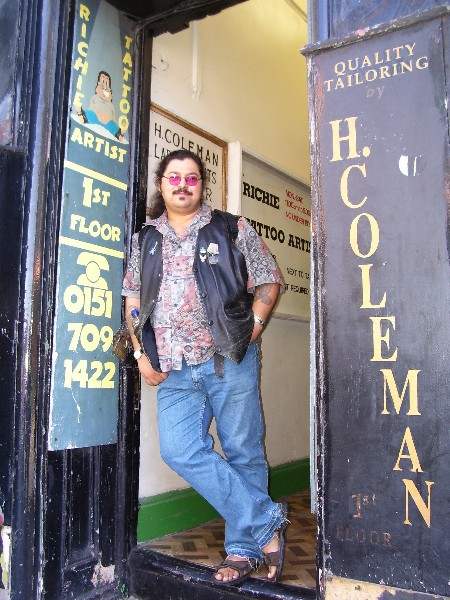 Richie in the street-level entrance to his studio.  The building is also shared with a tailor.