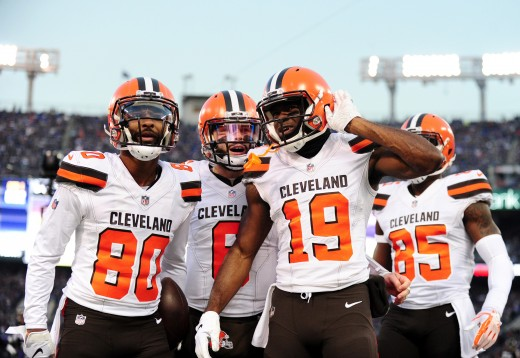 Cleveland Browns wide receiver, Breshad Perriman (19), celebrates with wide receiver, Jarvis Landry (80), and quarterback, Baker Mayfield (6), in 2018. The wide receiver position has seen plenty of talent throughout Browns history.