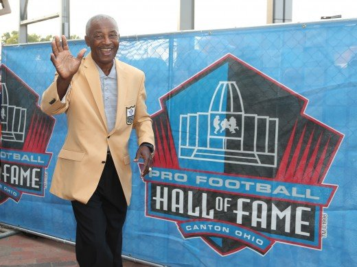 Former Cleveland Browns receiver, Paul Warfield, arrives during the Professional Football Hall of Fame enshrinement ceremonies at the Tom Benson Hall of Fame Stadium in 2017.