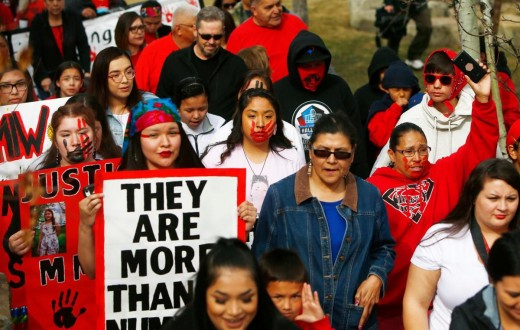 March in downtown Billings, Montana for Missing and Murdered Indigenous Women. Photo courtesy of the Billings Gazette.