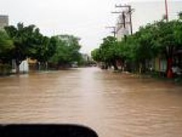 Downtown streets in Baja's capital, La Paz during hurricane flooding