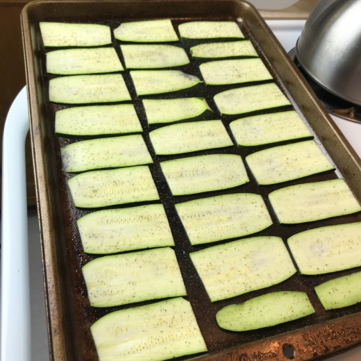 The zucchini roasts quickly so watch out. When removing them from the oven, they should still have a little bite to them. They will continue to cook once removed from the oven so it's imperative to take them out just before they're done.
