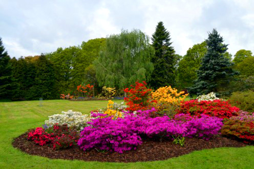 The castle gardens burst with color during the late spring.