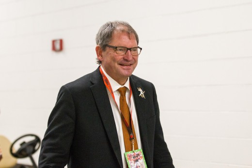 Former quarterback Bernie Kosar smiles during halftime of a game between the Cleveland Browns and the New York Jets during the 2016 season. Kosar is remembered as one of the best Browns quarterbacks of all-time.