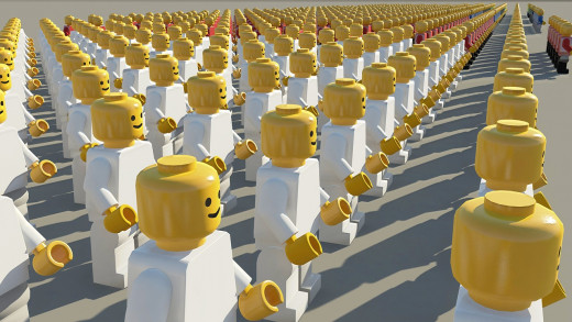 Lego figures' trademark yellow heads were perfect for the study, which required the use of round and easy-to-spot toys.