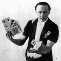 Harry Houdini doing card tricks