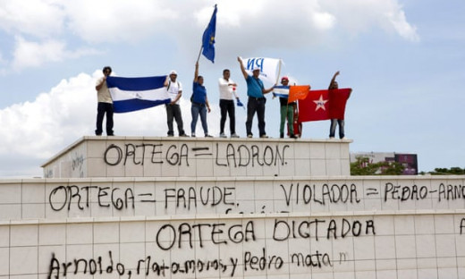 """""""Members of the Independent Liberal party, a Nicaraguan opposition party, protest court decision to remove leader Eduardo Montealegre."""" The Guardian - Photograph: Mario Lopez/EPA"""