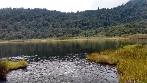 The beautiful lake resembling the shape of foot print