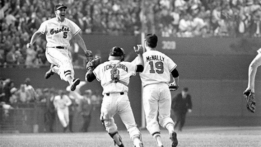 """The Baltimore Orioles celebrate their victory at the 1966 World Series. Their golden years encompassed a playing philosophy called """"The Oriole Way"""", which saw them through 18 consecutive winning seasons and two more World Series titles (1970, 1983)."""