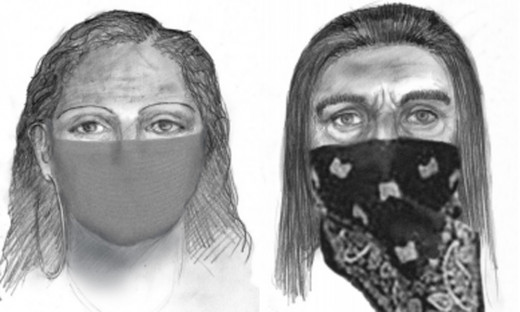 Composite sketches of the suspects in the abduction of Sherri Papini on November 2, 2016 in Redding, California.