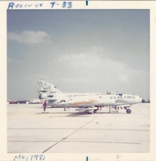 An Air Force Reserve T-33 at Randolph AFB, TX, May 1982.