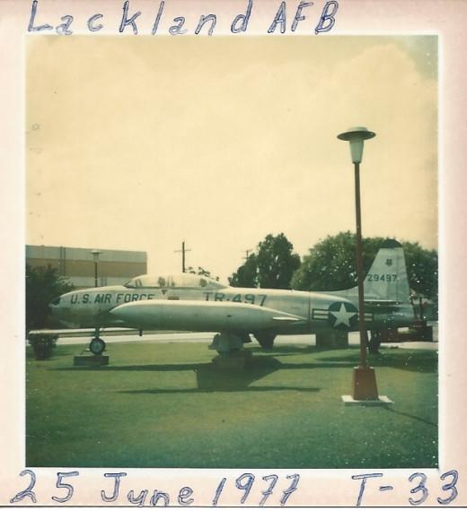 A T-33 at Lackland AFB, TX, 1977.
