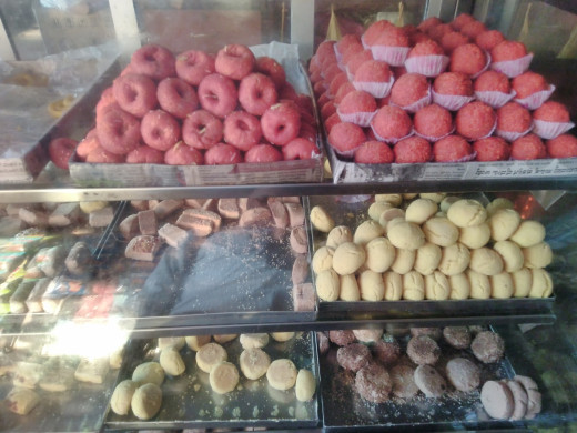 Colourful sweets attract customers to the sweet stalls