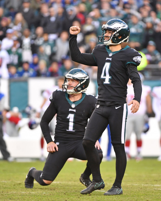 Philadelphia Eagles kicker Jake Elliott (4) reacts after 43-yard field goal late in the fourth quarter against the New York Giants at Lincoln Financial Field.