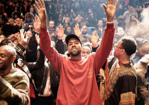 Kanye performing at one of his infamous Sunday Worship Services