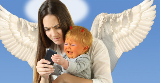 Orange, Angry  Baby Trump Trying to Wrestle Cell Phone from Angel