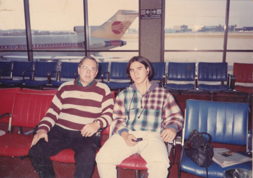 Author and son Charles at Milwaukee Airport in November 1992.