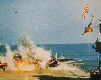 """Film footage used in Midway, 1976, Film was stock footage from the Japanese movie """"Storm Over the Pacific""""."""