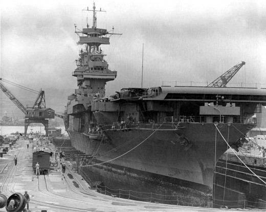 The USS Yorktown at Pearl Harbor 1941.