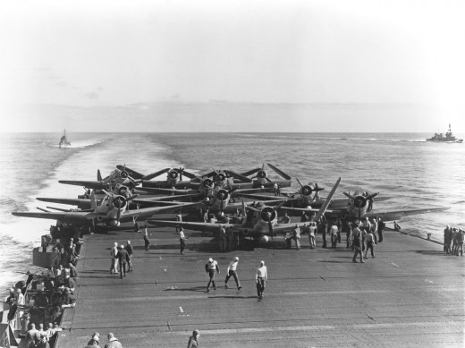 VT-6 Devastators preparing for takeoff from the USS Enterprise during the Battle of Midway.