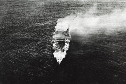 The Japanese carrier Hiryu on fire, June 5, 1942.