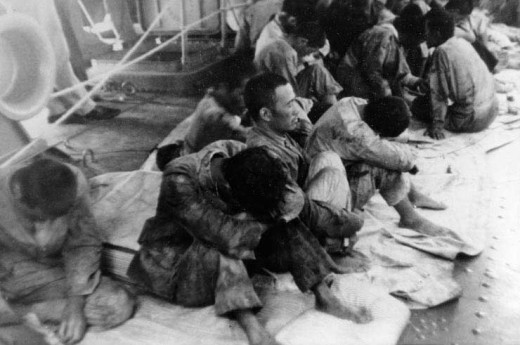 Japanese sailors from the Hiryu rescued by the USS Ballard.