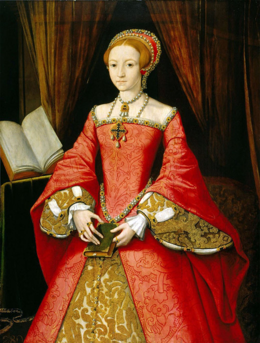 The young Queen Elizabeth, from a painting created in the early days of her reign in 1558