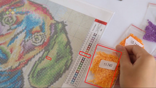 diamond painting drill guide on the canvas