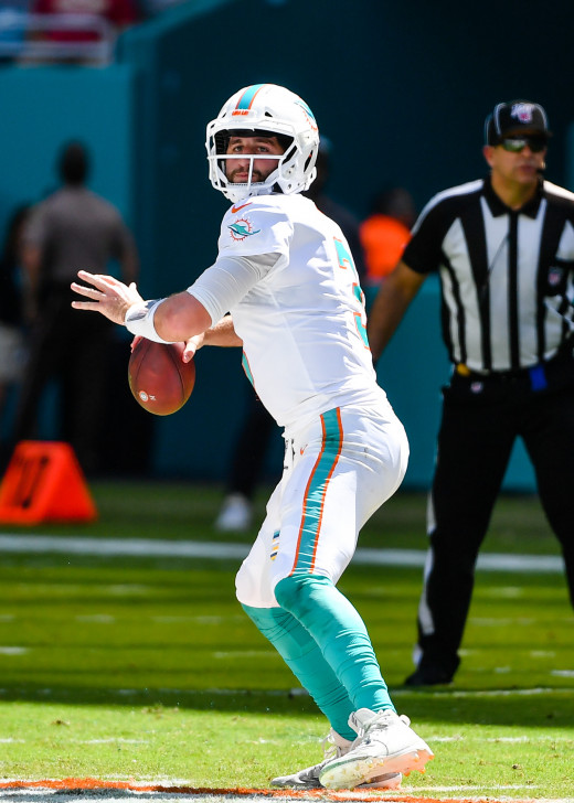 Miami Dolphins quarterback, Josh Rosen, drops back to pass against the Washington Redskins in 2019. He was a first-round draft pick of the Arizona Cardinals in 2018, but after a trade to Miami, he could be developed into a star.
