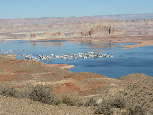 Looking down on Wahweap Marina and Lake Powell, Glen Canyon National Recreation Area.