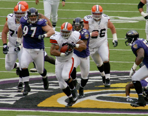 Jamal Lewis during the Cleveland Browns 33-30 OT win over the Baltimore Ravens on November 18, 2007. Lewis finished with 92 rushing yards and a touchdown in his return to the Baltimore.