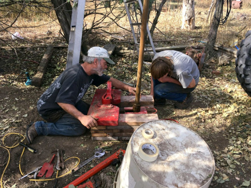 Working with tools and machinery--in this case, pulling an old-fashioned well--trains in forethought, caution, physical strength, cooperation, and innovation.