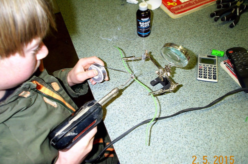 Learning to solder was another step to fulfilling Billy's science goals.