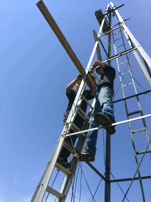 Working on a windmill tower which is to be moved and re-erected is an exciting and important responsibility.