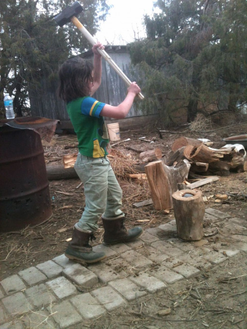 Using a maul and wedge to split firewood also provides a great workout. Many of our wood species, such as elm, don't split well with an ax. For large jobs, a hydraulic log splitter is in order.
