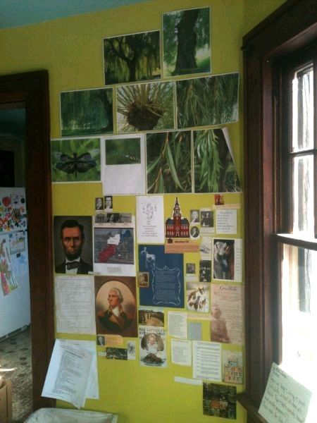 Our picture wall is where we put inspirations for studies, special projects, and dreams. It changes whenever our plans and projects change. I was studying willows for a mural, and in history we were focusing on America's founding concepts.