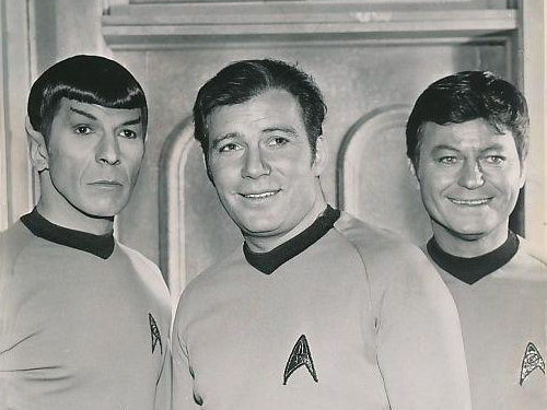 Mr. Spock (Leonard Nimoy), Captain Kirk (William Shatner), Dr. McCoy (DeForest Kelley)