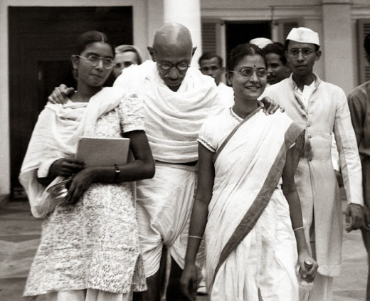 Gandhi with his female companions