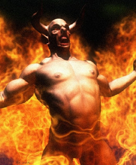 A Traditional Demon in Hell Fire...