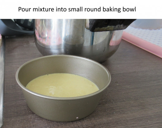 Then pour your mixture into a baking bowl. Don't forget to spray it with cooking oil so that it is easy to remove the 'cookie' afterwards.