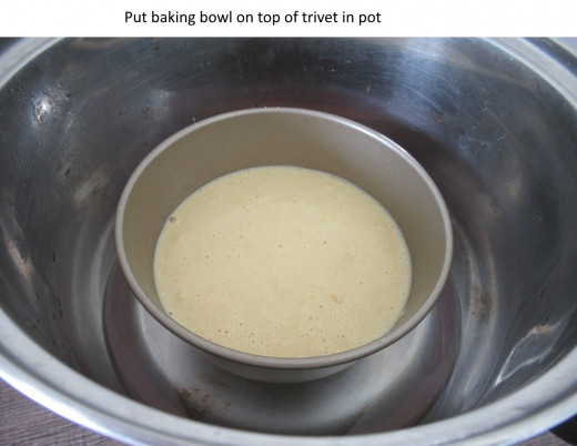 Set the baking bowl on top of the trivet