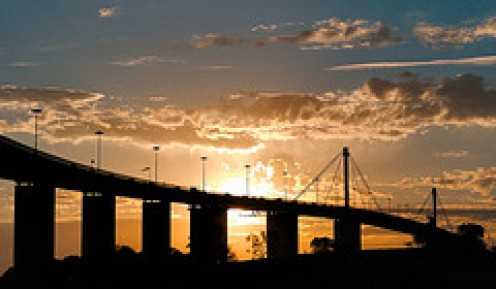 The new-look West Gate Bridge at sunset.