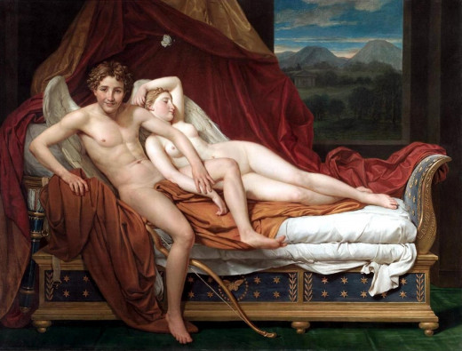"Cupid and Psyche (1817) by Jacques-Louis David: the choice of narrative moment—a libertine adolescent Cupid departs Psyche's bed with ""malign joy""[44]—was a new twist on the well-worn subject"