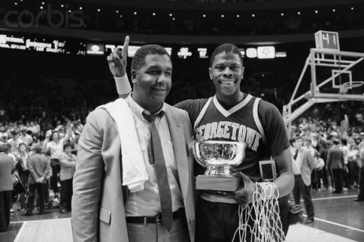 Coach John Thompson and star center Patrick Ewing celebrating their win at the 1985 Big East final in Madison Square Garden. Beginning in 1972, Thompson and Athletic Director Francis Rienzo would take Georgetown University to new heights.