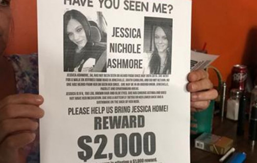 Flier for Jessica Ashmore, missing since May 19, 2019, from Jonesville, South Carolina.