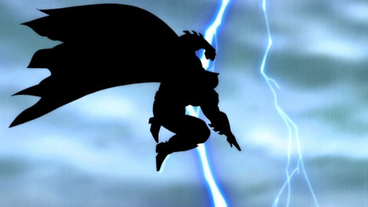 The iconic visual from Frank Miller's graphic novel recreated in the animated film.