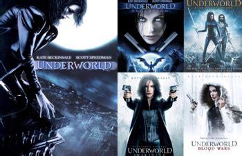 Underworld, Underworld Evolution, Underworld Rise Of The Lycans, Underworld Awakening, and Underworld Blood Wars